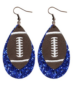 Blue Glitter Football EarRings