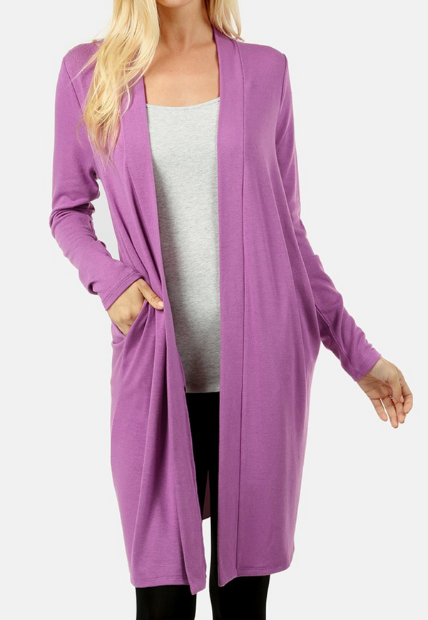 DARK MAUVE Sweater Cardigan with Side Pockets