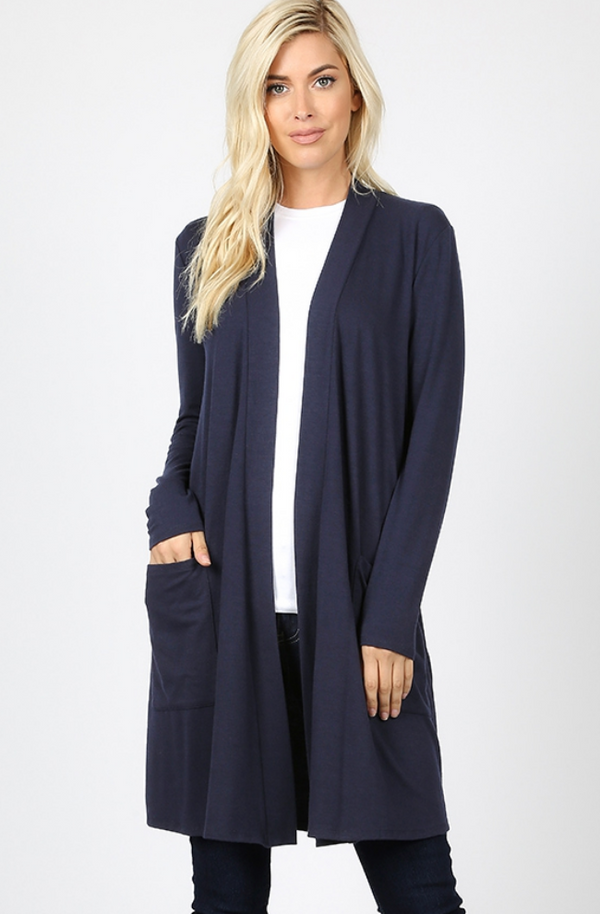 NAVY Cardigan with Long Sleeves and Slouchy Front Pockets