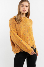 POL Distressed MUSTARD Confetti Sweater