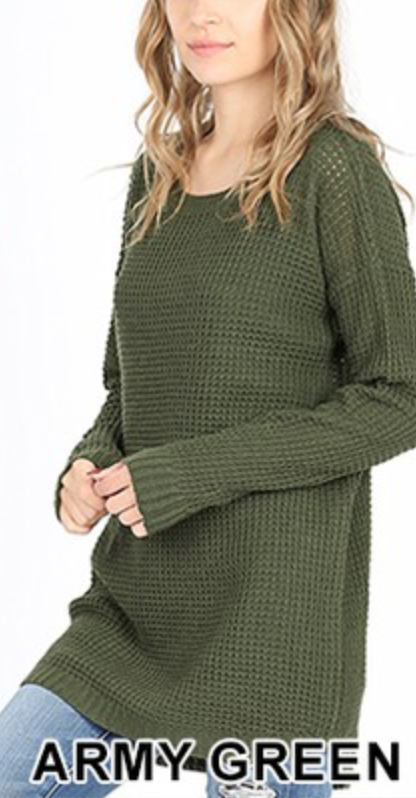 ARMY GREEN Waffle Sweater with Hi-Lo Hem