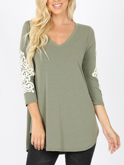 LIGHT OLIVE V-Neck Lace Patch Sleeve Top