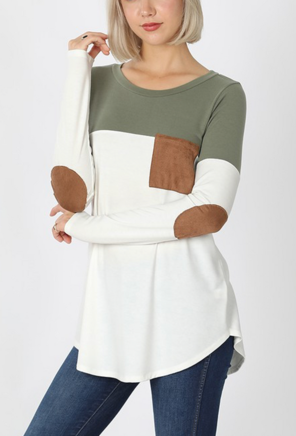 Light Olive/Ivory Color Block with Suede Pocket and Elbow Patch Top