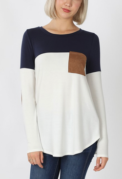 Navy/Ivory Color Block with Suede Pocket and Elbow Patch Top