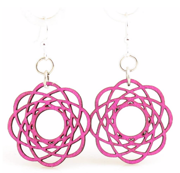 Molecular Blossom Wood Earrings