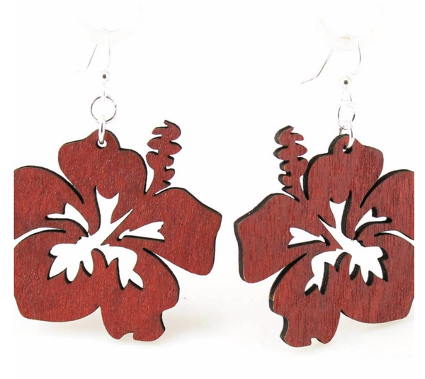Hibiscus Wood Earrings