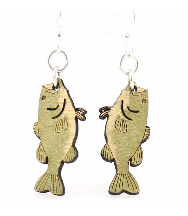 Bass Fish Wood Earrings