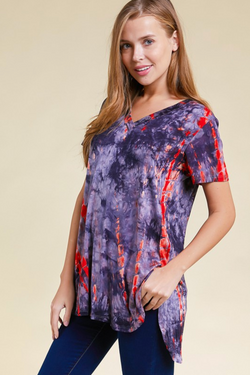Tie Dye V-Neck Short Sleeve Top