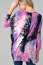 Tie Dye Twist Hem Top 3/4 Sleeve