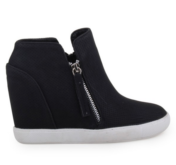 Black Wedge Shoes with Zipper