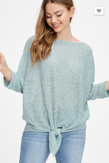 SAGE Solid Knit Front Self Tie Knot Top