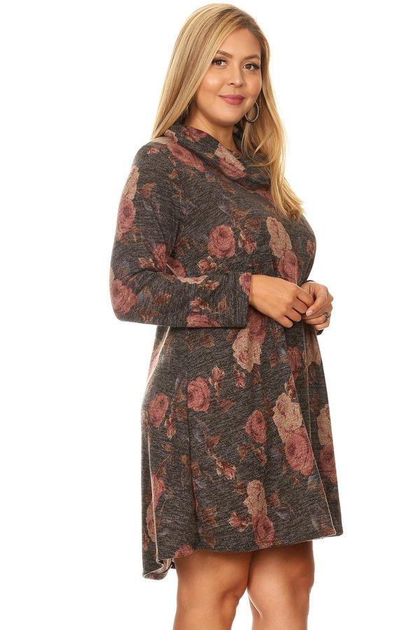 Smokey Floral Cowl Neck Dress