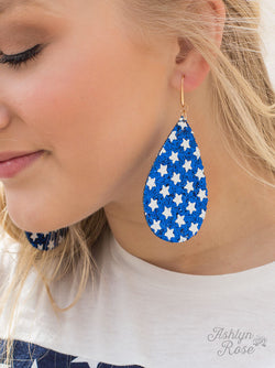 Star Spangled and Sparkling Earrings, Blue Glitter