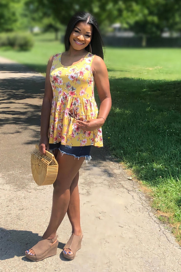Golden Floral Tiered Tank Tunic
