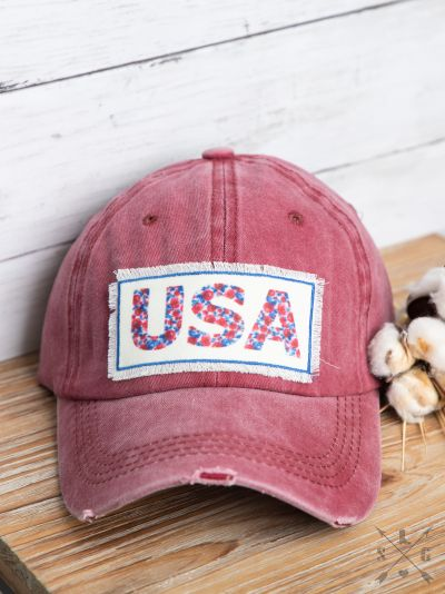 Floral USA Patch on Maroon Distressed Hat