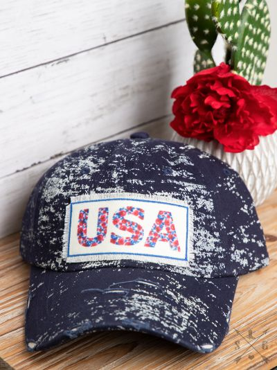 Floral USA Patch on Navy Spatter Hat