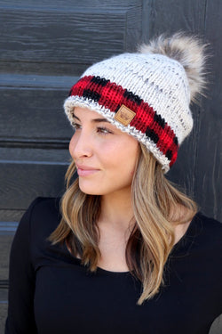 Buffalo Plaid Accent Cuff Knit Hat with Pom Accent