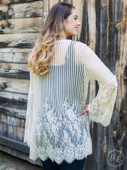 Country Chic Detailed Lace Kimono, Cream
