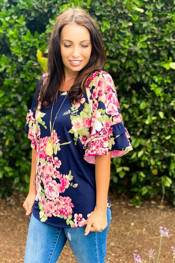 Navy Blooms Ruffle Sleeve Top