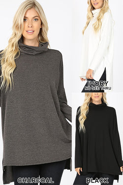 COWL TURTLE NECK DOLMAN LONG SLEEVE TOP