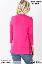 Snap Button Cardigan Sweater in Hot Pink
