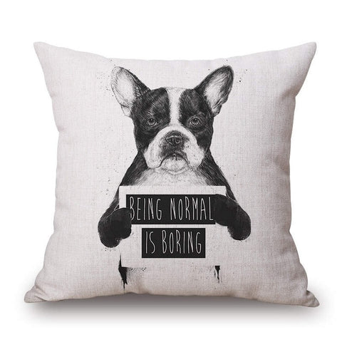 Funny Bad Dog Throw Pillow Cover