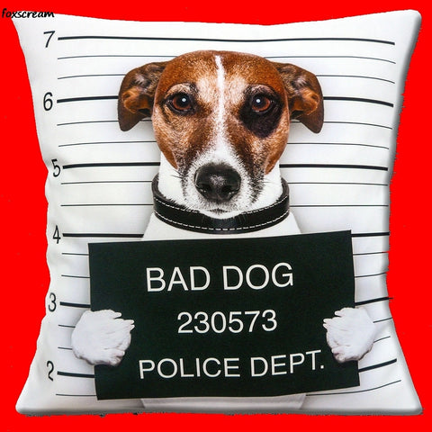 Jack Russell Mug Shot Pillow Cover
