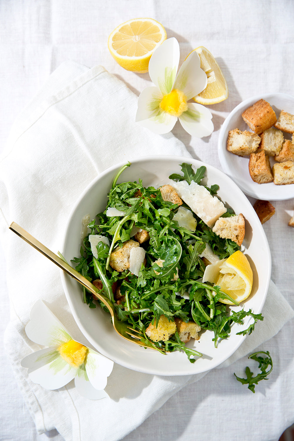 Wild Arugula Salad with Garlic Croutons, Shaved Parmesan, and Caramelized Lemon