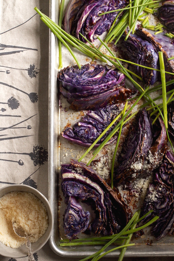CHARRED PURPLE CABBAGE WITH PARMESAN AND CHIVES