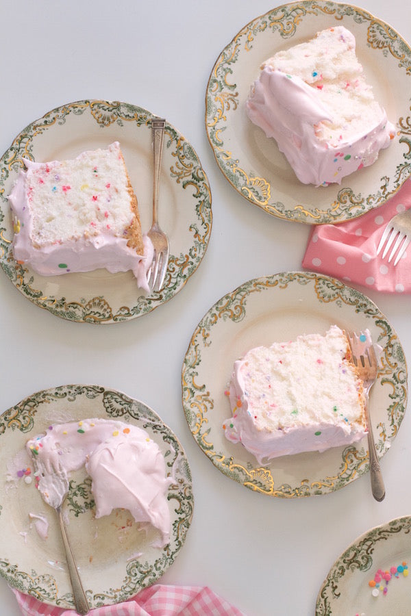 Sprinkle Angel Food Cake with Pink Cloud Frosting