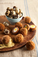 SCOTCH QUAIL EGGS WITH TARRAGON MUSTARD DIPPING SAUCE