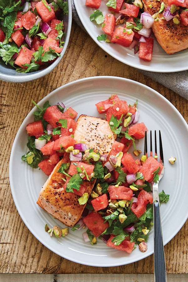 CRISPY SALMON AND WATERMELON SALSA