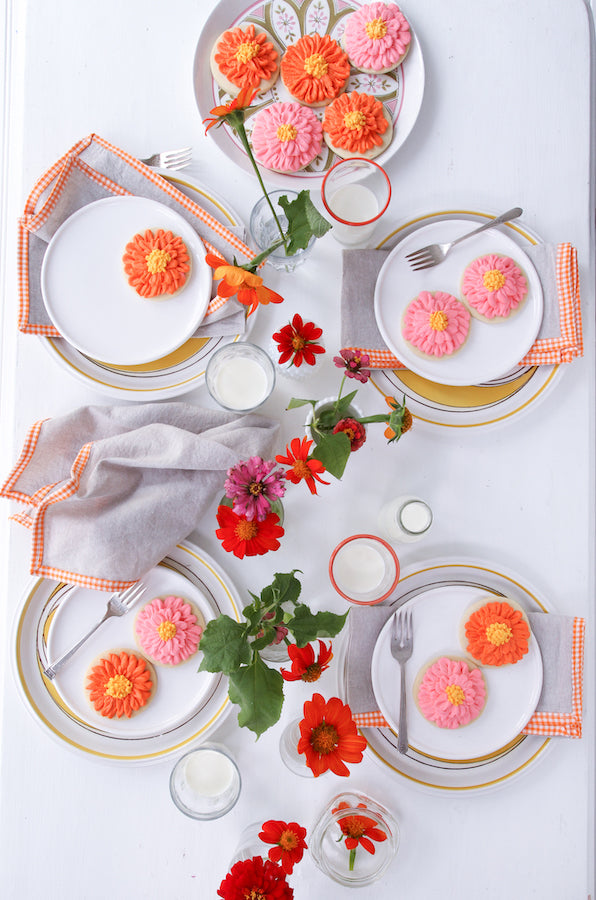 French Picnic Napkin Set in orange gingham from Libbie Summers