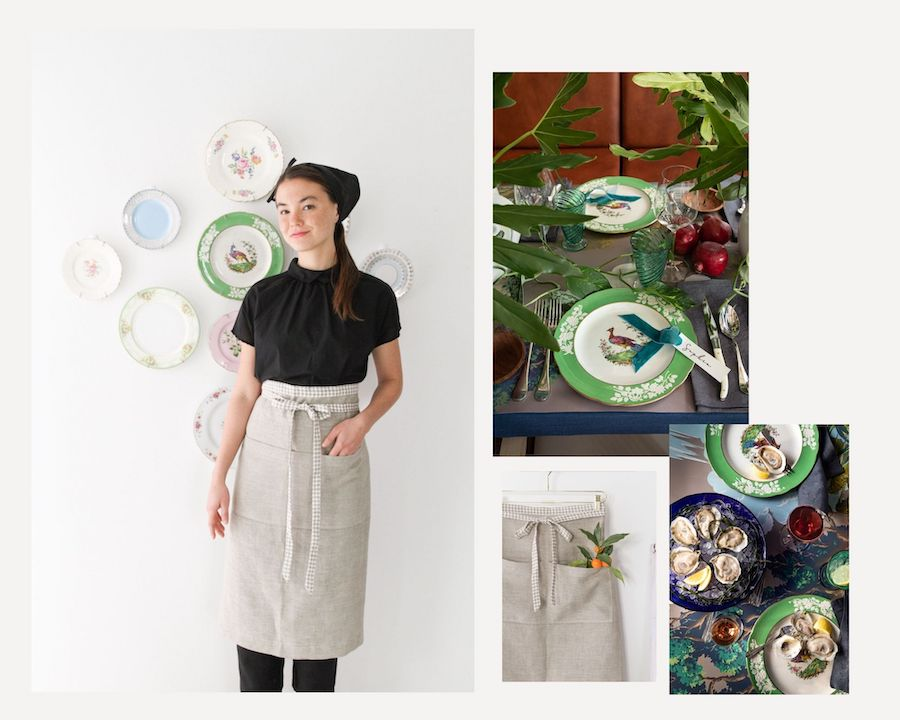 Plate Wall –Design to Dinner Table and Galley Apron from Libbie Summers Label