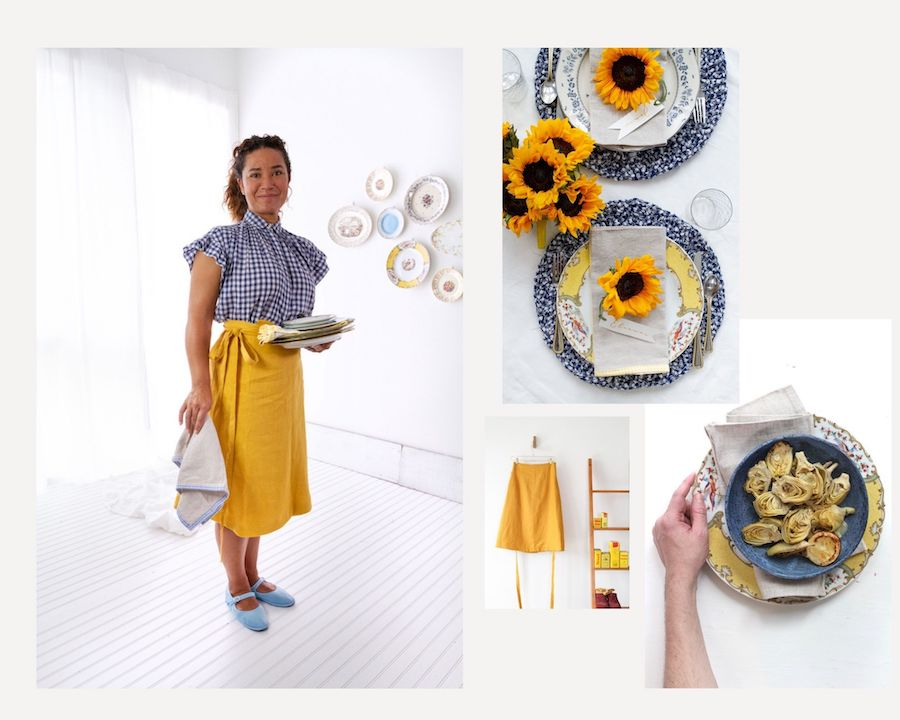 Plate Wall –Design to Dinner Table (Mustard Linen A-line Wrap Skirt) by Libbie Summers