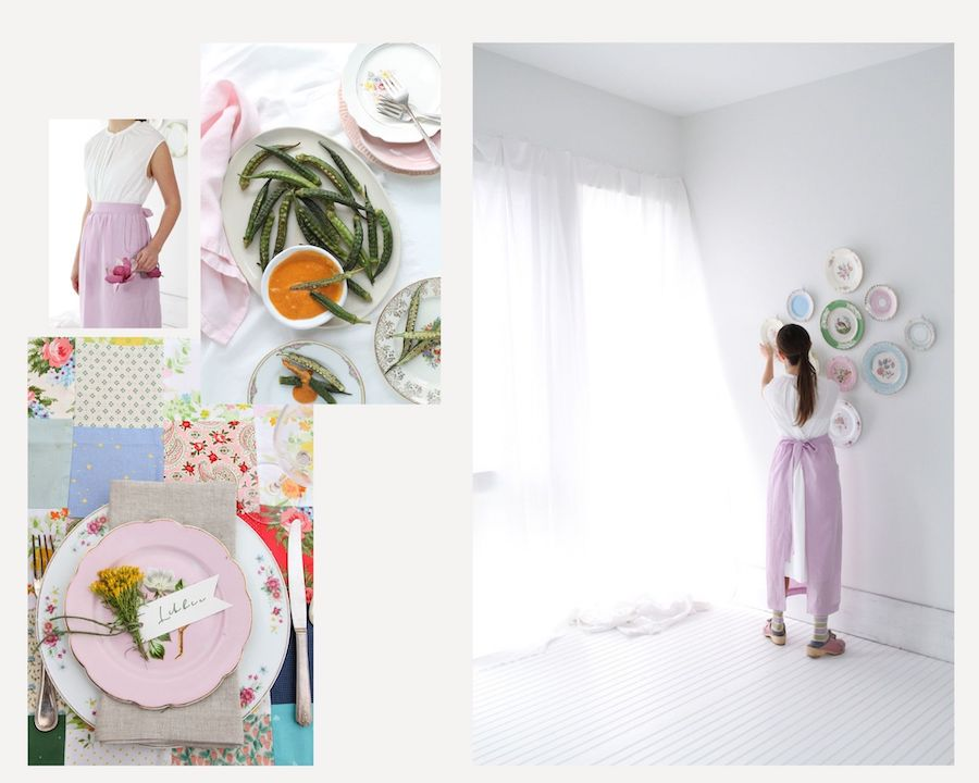 Plate Wall –Design to Dinner Table (lilac linen chamber apron) by Libbie Summers label