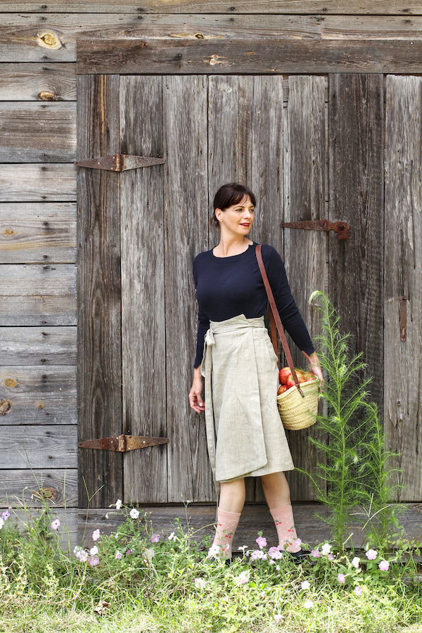 EVERYDAY BEAUTIFUL A-LINE APRON WRAP SKIRT IN NATURAL LINEN