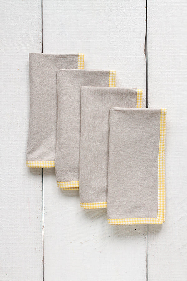 FRENCH PICNIC LINEN NAPKIN SET (YELLOW GINGHAM)