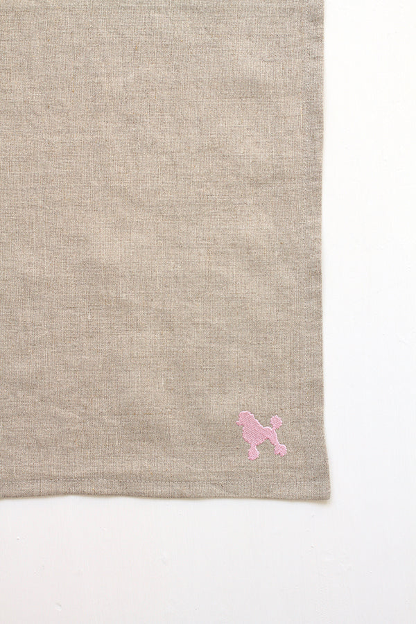 Dark Sand Linen Kitchen Towel (Pink Poodle Embroidery)