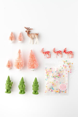 Magical enchanted gnome deer and pink bottle brush tree forrest dessert party cake toppers and sprinkles