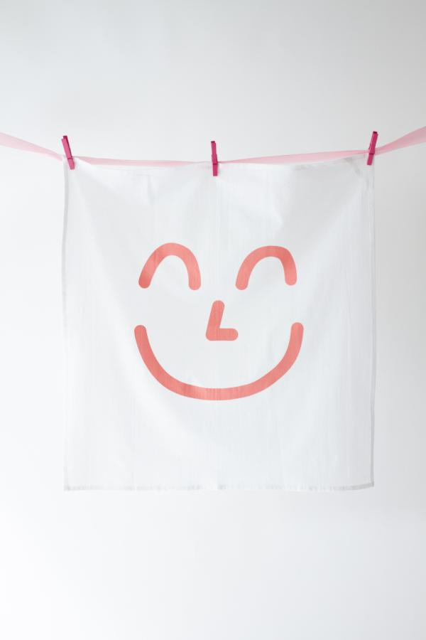 PINK SMILEY KITCHEN TOWEL