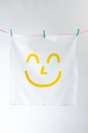 YELLOW SMILEY KITCHEN TOWEL
