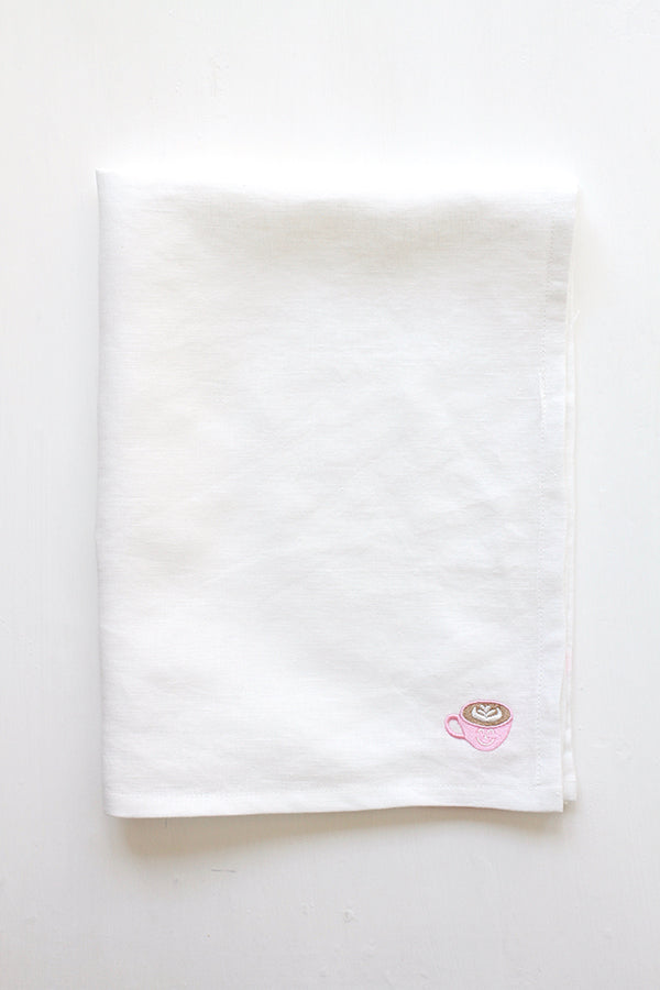 White Linen Kitchen Towel (Pink Café Latte Embroidery)
