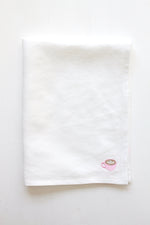 WHITE LINEN KITCHEN TOWEL (PINK CAFE LATTE EMBROIDERY)