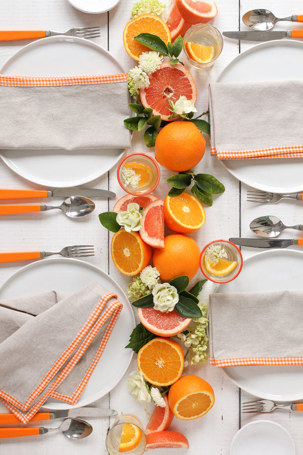 FRENCH PICNIC LINEN NAPKIN SET (ORANGE GINGHAM)