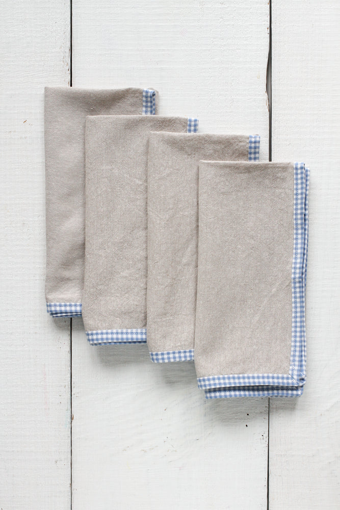 FRENCH PICNIC LINEN NAPKIN SET (BLUE GINGHAM)