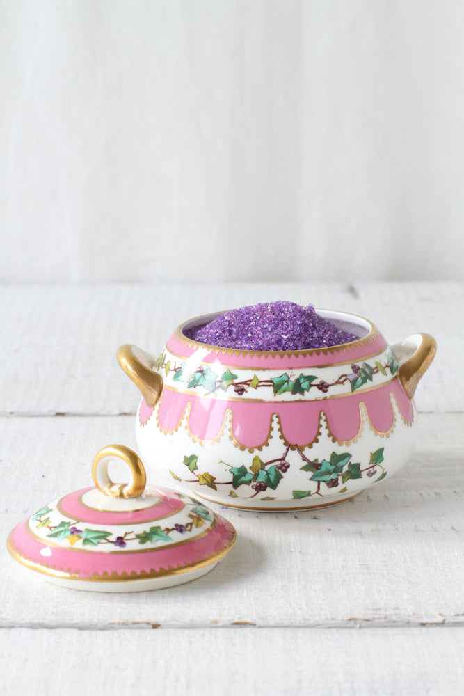 Vintage Pink Sugar Bowl with Gold Trim