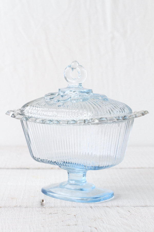 Vintage Ice Blue Indiana Glass Pedestal Candy Dish/Dessert Compote with Lid