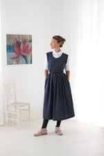 Atelier Apron Dress in Indigo Chambray Linen