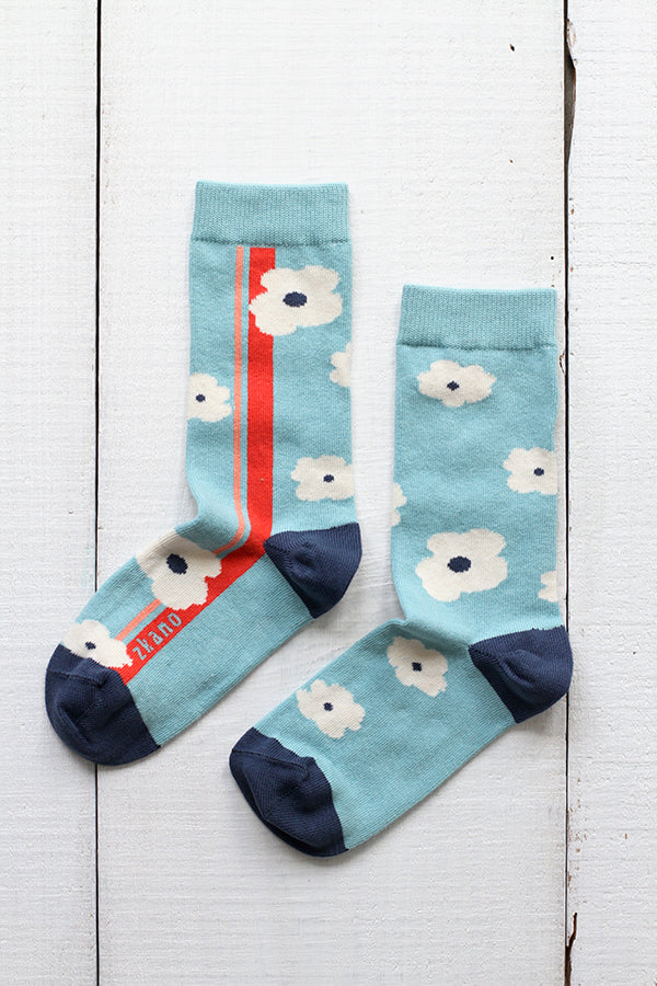 EMMY FLOWERED SIDE STRIPES CREW SOCKS